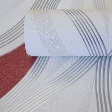 Metallic Waves Red/ White Wallpaper ...