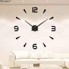 Fashion 3D big <b>size mirror</b> sticker wall clock home decor <b>DIY</b> acrylic ...