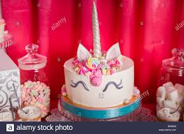 Sweet Table And Big Unicorn Cake For Baby Girl First Birthday Candy