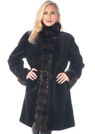 reversible original sheared mink fur coat 3 4 coat chinchilla trim