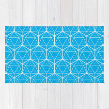 icosahedron pattern bright blue rug