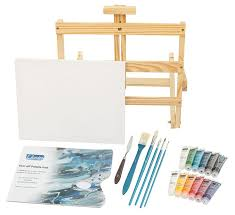 l louise art acrylic paint set with easel 5 brushes palette knife
