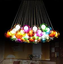 fresh colorful ceiling light fashion led bulb glass ball pendant chandelier d i y art lamp lantern fixture