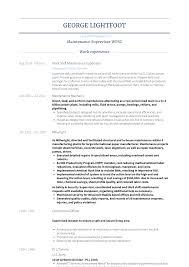 Maintenance Supervisor Resume Samples And Templates Visualcv