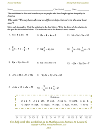 solving multi step inequalities worksheet them and try to solve