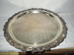 beautiful large round serving tray silver plate tray footed tray orante trim ornate etching