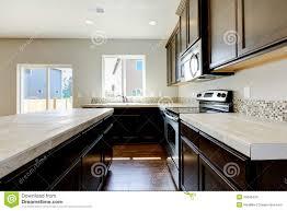Dark Brown Kitchen Cabinets New Home Kitchen Interior Dark Brown Cabinets Stock Photos Images