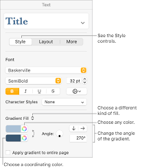 text or add a grant in pages on mac