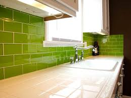 ... Lush Lemongrass 3x6 Green Glass Subway Tile Kitchen Backsplash and  Corner Installation ...