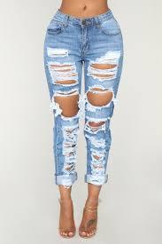 No Sensor Distressed Denim Jeans Medium Blue Wash Light