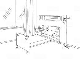 病院病棟グラフィック ブラック ホワイト インテリア スケッチ イラスト