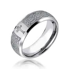 mens celtic cross infinity knot tungsten comfort fit curved wedding band ring brushed finish 8mm