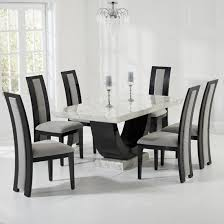allie marble dining set in cream and black with 6 grey chairs 1