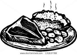 dinner clipart black and white. black and white vector illustration of steak dinner with baked potato beans clipart