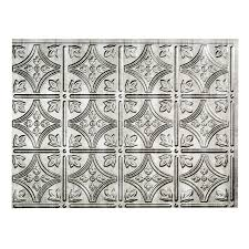 Kitchen Backsplash Tile Lowes Shop Fasade 185 In X 245 In Cross Hatch Silver Thermoplastic