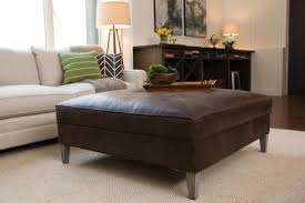 ... Coffee Table, Incredible Dark Brown French Country Leather Square Ottoman  Coffee Table Idea: Exciting ...