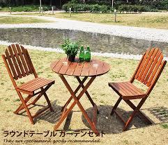 wooden two garden table three points set garden chairs folding north european roundtable garden set