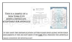 New York Letter Of Exemplification And Birth Certificate For