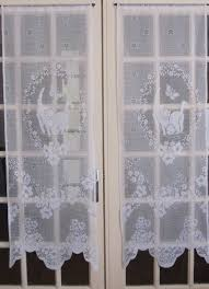 Lace Window Treatments White French Door Curtains White Lace Curtains Cats French