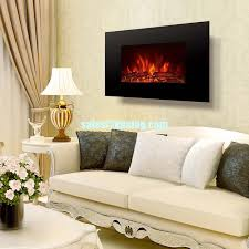 flame flat tempered glass wall mounted electric fireplace heater