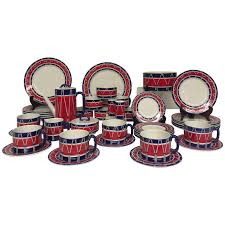 Red White and Blue Mancioli Drum Motiffe Dinnerware For Sale at 1stdibs