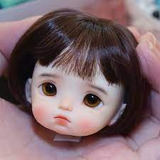 obitsu OB11 doll head with makeup with eyes 1/8 BJD doll head Head can be  opened with short wig k005 Dolls