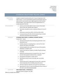 Veterinary Resumes Veterinary Receptionist Resume Samples Tips And Templates