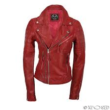 las women black red soft real leather biker jacket slim fit size uk 8 to 24 picture 2 of 7