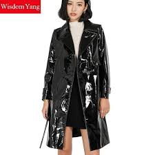 autumn black real sheepskin genuine patent leather trench coat womens long belt moto windbreaker overcoat trench coats outerwear