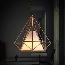 copper diamond wire cage pendant light