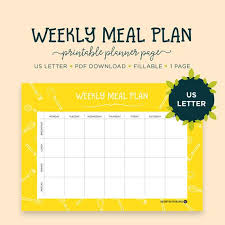 Meal Planning Fillable Pdf Us Letter Size Planner Daily Meal Planner Menu Planner Meal Planner Daily Planner Meal Plan Planner Pages