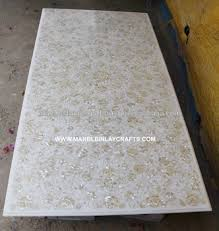 white marble table top. White Marble Inlay Dining Table Top With Mother Of Pearl Work