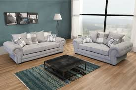 Light Grey Couch Set Details About Chesterfield Style Verona Sofa Set 3 2 Seater Fabric Light Grey Silver