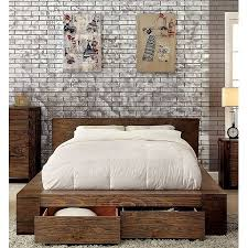 California King Size Bed Rustic Natural Tone Finish Low Profile Bed w Storage Drawers FB Bedroom Furniture 1pc Bed Solid Wood