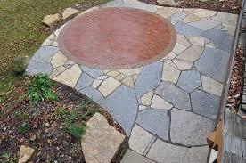 lannon flagstone patio brick inlay