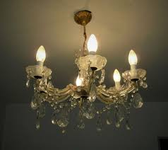Alter Kristall Glas Lüster Kronleuchter Messing Deckenlampe Lampe
