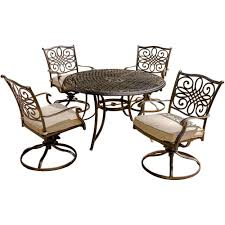 bronze piece dining set hanover traditions  piece patio outdoor dining set with  cushioned swi