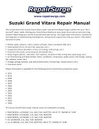 suzuki grand vitara repair manual 1999 2011 repairsurge com suzuki grand vitara repair manual the convenient online suzuki grand vitara ja v6 engine