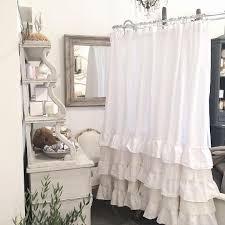 burlap ruffle shower curtain fresh a beautiful custom linen shower curtain with petticoat ruffles and