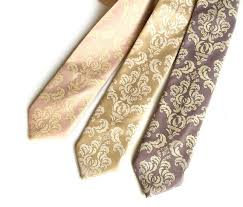 Damask Tie Wedding Necktie Damask Print Mens Tie Groomsmen Neckties Grooms Tie Groomsman Gift Elegant Neutral Shades Rustic Romantic Ceremony