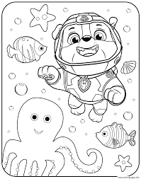 Paw Patrol Rubble Underwater Coloring Pages Printable