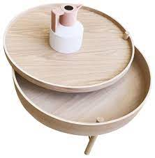 chic round wood storage coffee table