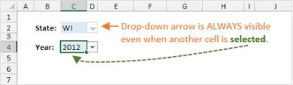 Drop Down List Arrow Always Visible In Excel