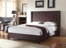 Image Platform Bed Brown Fabric Wingback King Size Platform Bed Frame Slats Modern Home Bedroom Ebay Modern King Bed Ebay