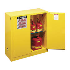 Yellow Flammable Cabinet Justrite Safety Cabinet 30 Gallon Self Closing Door Model