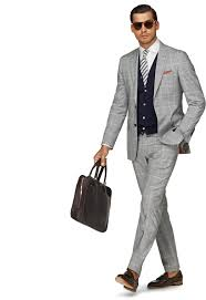 Light Grey Pinstripe Suit Combinations Sienna Light Grey Check Suit With Navy Cardigan White Shirt