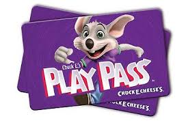 chuck e cheese play p card 31 124 points