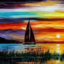 sunset paintings leonid afremov sailboats oil painting paintings on canvas artists oil