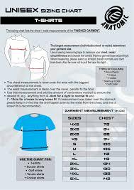 T Shirt Sizing Chart Anatomic Custom Sportswear