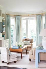 Decorations:White Bay Window With Glass Has Drapery Grey Curtain Clever Window  Curtain Ideas With